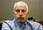 FILE - In this Friday, Jan. 6, 2017, file photo, real estate heir Robert Durst appears in a Los Angeles Superior Court Airport Branch for a pre-trial motions hearing in Los Angeles. Durst faces trial in the slaying of his best friend 20 years ago. Jury selection begins Wednesday, Jan.19, 2020, in Los Angeles.  (Mark Boster/Los Angeles Times via AP, Pool, File)