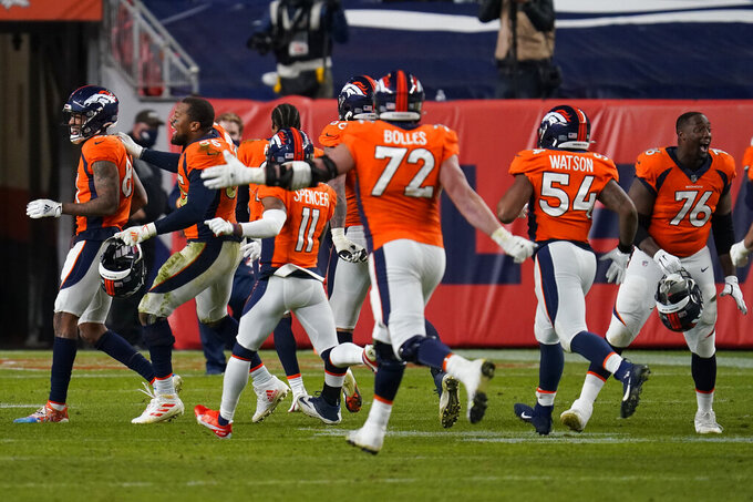 The Denver Broncos celebrates as time expires in an NFL football game against the Miami Dolphins, Sunday, Nov. 22, 2020, in Denver. The Broncos won 20-13. (AP Photo/David Zalubowski)