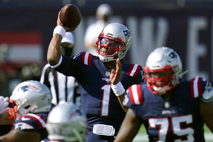 New England Patriots quarterback Cam Newton (1) passes against the Denver Broncos in the first half of an NFL football game, Sunday, Oct. 18, 2020, in Foxborough, Mass. (AP Photo/Charles Krupa)