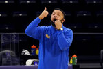 Pittsburgh head coach Jeff Capel talks to his team during the first half of an NCAA college basketball game against Northwestern in Evanston, Ill., Wednesday, Dec. 9, 2020. (AP Photo/Nam Y. Huh)