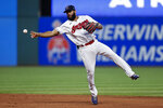 Cleveland Indians' Amed Rosario throws out Houston Astros' Taylor Jones at first during the sixth inning of a baseball game Friday, July 2, 2021, in Cleveland. (AP Photo/Ron Schwane)