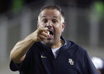 FILE - In this Sept. 1, 2018, file photo, Baylor coach Matt Rhule gestures to an official during the first half of an NCAA college football game against Abilene Christian, in Waco, Texas. Baylor hosts Duke on Saturday. (Jerry Larson/Waco Tribune-Herald via AP, File)
