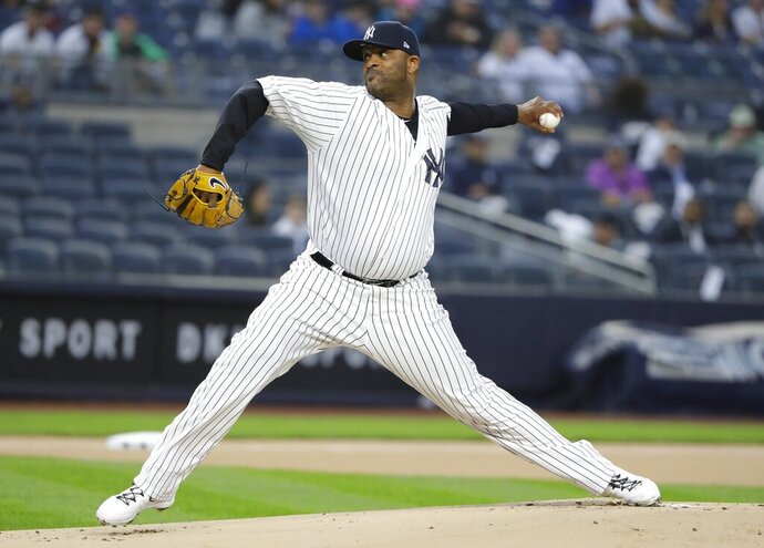 New York Yankees' CC Sabathia delivers a pitch during the first inning of a baseball game against the Kansas City Royals, Friday, April 19, 2019, in New York. (AP Photo/Frank Franklin II)
