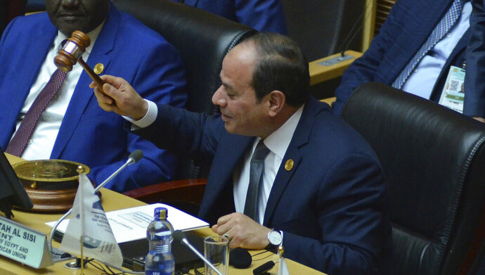 Egyptian President Abdel Fattah al-Sisi, the new chairman of the African Union, at the 32nd African Union Summit, in Addis Ababa, Sunday, Feb. 10, 2019. Egypt's President Abdel Fattah el-Sisi has been elected chairman of the African Union at the continental body's summit in Ethiopia. The Egyptian leader addressed the summit, saying he would focus on security on the African continent.  (AP Photo/Samuel Habtab)