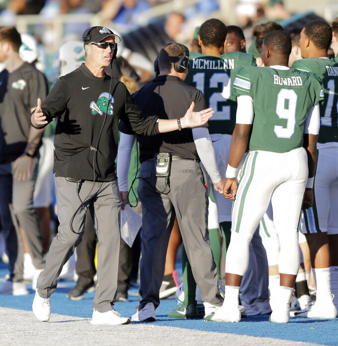 Tulane head coach Willie Fritz gestures on the sideline during during an NCAA college football game against Tulane in New Orleans, La., Saturday, Nov. 2, 2019. (A.J. Sisco/The Advocate via AP)