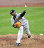 New York Yankees starting pitcher CC Sabathia delivers a pitch during the second inning of the team's baseball game against the Baltimore Orioles, Wednesday, May 22, 2019, in Baltimore. (AP Photo/Nick Wass)
