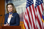 Speaker of the House Nancy Pelosi, D-Calif., speaks during a news conference at the Capitol in Washington, Thursday, Sept. 10, 2020. (AP Photo/Jacquelyn Martin)