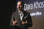 FILE - In this Sept. 5, 2018 file photo, Uber CEO Dara Khosrowshahi speaks during the company's unveiling of the new features in New York. Ride-hailing service Uber announced on Tuesday, March 26, 2019 it has acquired Mideast competitor Careem for $3.1 billion, giving the San Francisco-based firm the commanding edge in a region with a large young, tech-savvy population. (AP Photo/Richard Drew, File)
