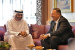 U.S. Secretary of State Mike Pompeo meets with Abu Dhabi Crown Prince Mohamed bin Zayed al-Nahyan in Abu Dhabi, United Arab Emirates, Thursday, Sept. 19, 2019. (Mandel Ngan/Pool via AP)