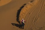 Paulo Gonçalves of Portugal rides his Hero motorbike during stage seven of the Dakar Rally between Riyadh and Wadi Al Dawasir, Saudi Arabia, Sunday, Jan. 12, 2020. Gonçalves, 40, died after an accident at kilometer 276. (AP Photo/Bernat Armangue)
