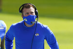 Los Angeles Rams head coach Sean McVay looks up at the scoreboard during the first half of an NFL football game against the Miami Dolphins, Sunday, Nov. 1, 2020, in Miami Gardens, Fla. (AP Photo/Lynne Sladky)
