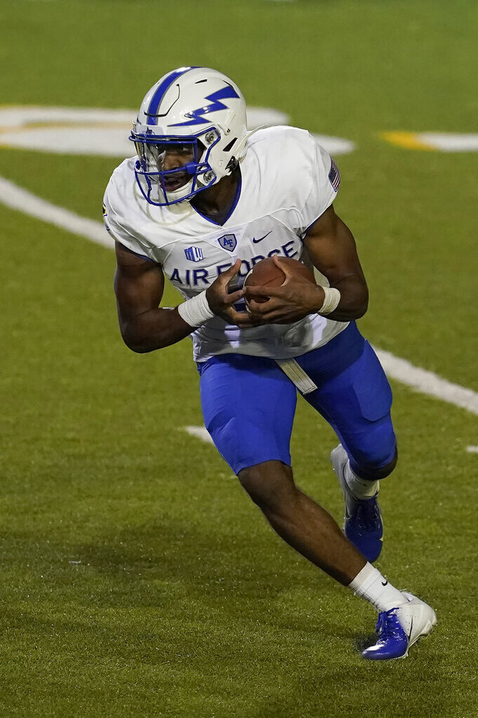 Air Force quarterback Haaziq Daniels (4) runs against San Jose State during the first half of an NCAA college football game in San Jose, Calif., Saturday, Oct. 24, 2020. (AP Photo/Jeff Chiu)