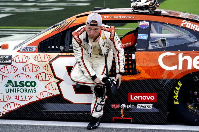 Tyler Reddick gets ready next to his car before the NASCAR Cup Series auto race at Daytona International Speedway, Saturday, Aug. 28, 2021, in Daytona Beach, Fla. (AP Photo/John Raoux)