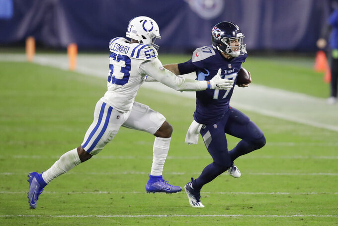 Indianapolis Colts outside linebacker Darius Leonard (53) catches up to Tennessee Titans quarterback Ryan Tannehill (17) in the second half of an NFL football game Thursday, Nov. 12, 2020, in Nashville, Tenn. (AP Photo/Ben Margot)