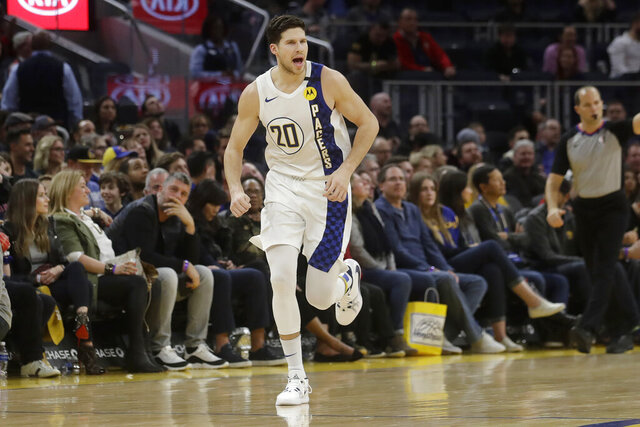 Indiana Pacers forward Doug McDermott (20) reacts after shooting a 3-point basket against the Golden State Warriors during the second half of an NBA basketball game in San Francisco, Friday, Jan. 24, 2020. (AP Photo/Jeff Chiu)