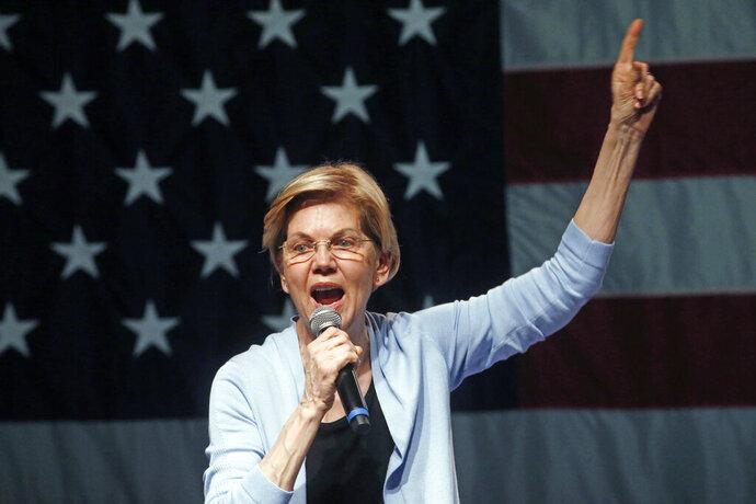 Democratic presidential candidate Sen. Elizabeth Warren, D-Mass., speaks during a campaign rally Wednesday, April 17, 2019, in Salt Lake City. (AP Photo/Rick Bowmer)