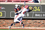 Louisiana-Lafayette wide receiver Kyren Lacy (2) can't hold on to a pass as UTSA cornerback Ken Robinson (21) defends in the second quarter during the First Responder Bowl NCAA college football game in Dallas, Saturday, Dec. 26, 2020. (AP Photo/Matt Strasen)