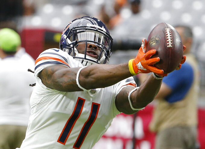 """FILE - In this Sunday, Sept. 23, 2018 file photo,Chicago Bears wide receiver Kevin White (11) in the first half during an NFL football game against the Arizona Cardinals in Glendale, Ariz. Kevin White, the former West Virginia star receiver and seventh overall NFL draft choice in 2015, says he's been lucky in life, but decidedly unlucky in his pro football career. """"Unlucky with injuries,"""" White said after his first practice with the New Orleans Saints on Wednesday., Aug. 18, 2021 """"But very lucky to still be in this league."""" (AP Photo/Rick Scuteri, File)"""