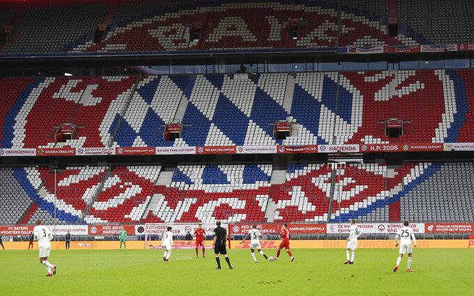 General view during the German Bundesliga soccer match between Bayern Munich and Eintracht Frankfurt in Munich, Germany, Saturday, May 23, 2020. (Andreas Gebert/pool via AP)