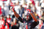Ohio State receiver Johnnie Dixon celebrates his touchdown against Nebraska during the first half of an NCAA college football game Saturday, Nov. 3, 2018, in Columbus, Ohio. (AP Photo/Jay LaPrete)