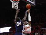 Rutgers forward Shaq Carter (13) shoots over Penn State forward Mike Watkins (24) during the first half of an NCAA college basketball game Tuesday, Jan. 7, 2020, in Piscataway, N.J. (AP Photo/Michael Owens)
