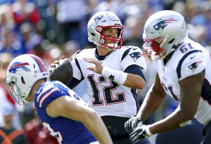 New England Patriots quarterback Tom Brady passes against the Buffalo Bills in the first half of an NFL football game, Sunday, Sept. 29, 2019, in Orchard Park, N.Y. (AP Photo/Ron Schwane)