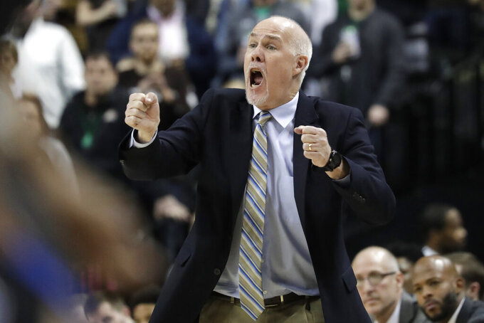 St. Bonaventure head coach Mark Schmidt reacts during the first half of an NCAA college basketball final game against Saint Louis in the Atlantic 10 men's tournament, Sunday, March 17, 2019, in New York. (AP Photo/Julio Cortez)