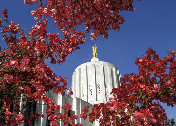FILE - In this May 12, 2011, file photo, the Oregon Capitol is shown surrounded by spring blossoms in Salem, Ore. Oregon officials continue to refuse to publicly disclose how much money the state has lost to unemployment insurance fraud during the pandemic, despite the fact that neighboring states – Washington and California – have reported huge sums of money wrongly paid after their systems were targeted by sophisticated hackers. (AP Photo/Don Ryan, file)