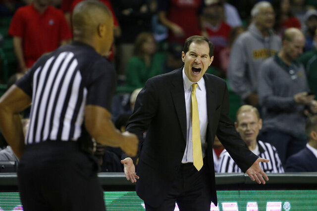 Baylor head coach Scott Drew argues a foul call during the second half of an NCAA college basketball game against Arizona in Waco, Texas, Saturday, Dec. 7, 2019. (AP Photo/Michael Ainsworth)