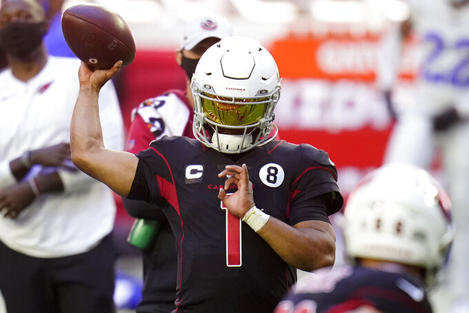Arizona Cardinals quarterback Kyler Murray (1) warms up prior to an NFL football game against the Los Angeles Rams, Sunday, Dec. 6, 2020, in Glendale, Ariz. (AP Photo/Ross D. Franklin)