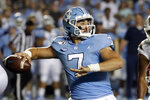 FILE - In this Sept. 7, 2019, file photo, North Carolina quarterback Sam Howell (7) prepares to pass during the first half of an NCAA college football game against Miami, in Chapel Hill, N.C. Howell was selected to The Associated Press All-Atlantic Coast Conference football team, and named Newcomer of the Year, Tuesday, Dec. 10, 2019. (AP Photo/Chris Seward, File)