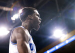 UCLA guard Kris Wilkes, reacts to a call during the second half of the team's NCAA college basketball game against Washington in Los Angeles, Sunday, Dec. 31, 2017. UCLA won 74-53. (AP Photo/Ringo H.W. Chiu)