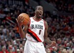 Portland Trail Blazers forward Al-Farouq Aminu reacts after being called for a foul against the Denver Nuggets during overtime of Game 3 of an NBA basketball second-round playoff series Friday, May 3, 2019, in Portland, Ore. (AP Photo/Craig Mitchelldyer)