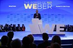 European People's Party candidate Manfred Weber delivers a speech at Zappeio Congress Hall in Athens on Tuesday, April 23, 2019. Weber is in Greece for the official launch of his campaign for the May 23-26 European Parliament elections. (AP Photo/Thanassis Stavrakis)