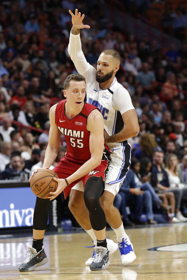 Miami Heat forward Duncan Robinson (55) looks for an opening past Orlando Magic guard Evan Fournier during the first half of an NBA basketball game Wednesday, March 4, 2020, in Miami. (AP Photo/Wilfredo Lee)