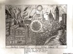 """This April 29, 2020 photo shows a drawing by Hudson Drutchas, 12, of Chicago. When he draws his version of the future, Hudson makes a detailed pencil sketch showing life before the coronavirus, and after. The world before is full of pollution in the drawing. In the future, the city is lush with clear skies and more wildlife and trees. """"I think the environment might kind of like replenish itself or maybe grow back,"""" he says. (Hudson Drutchas via AP)"""