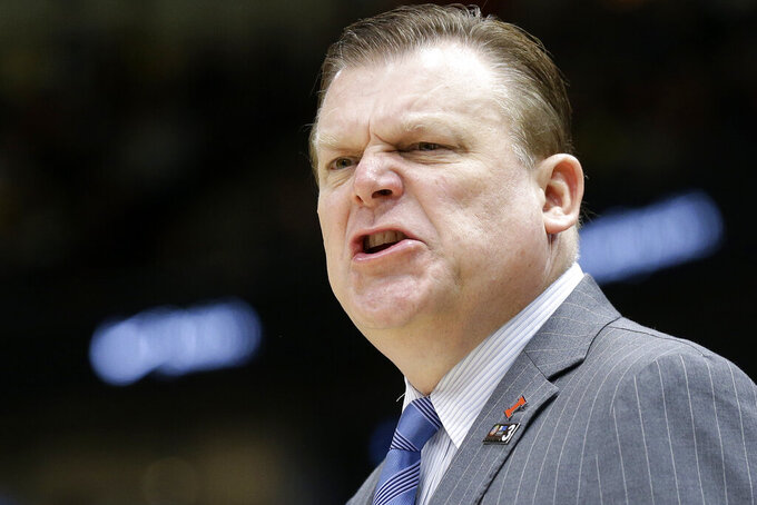 Illinois head coach Brad Underwood yells during the second half of an NCAA college basketball game against the Iowa in the second round of the Big Ten Conference tournament, Thursday, March 14, 2019, in Chicago. (AP Photo/Kiichiro Sato)