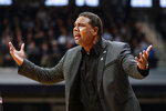 Providence head coach Ed Cooley questions a call in the first half of an NCAA college basketball game against Butler in Indianapolis, Saturday, Feb. 1, 2020. (AP Photo/Michael Conroy)