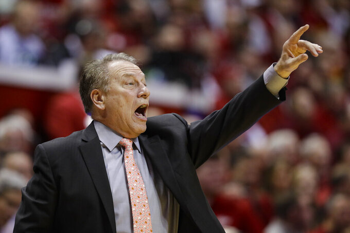 Michigan State head coach Tom Izzo gestures in the first half of an NCAA college basketball game against the Indiana in Bloomington, Ind., Thursday, Jan. 23, 2020. (AP Photo/Darron Cummings)