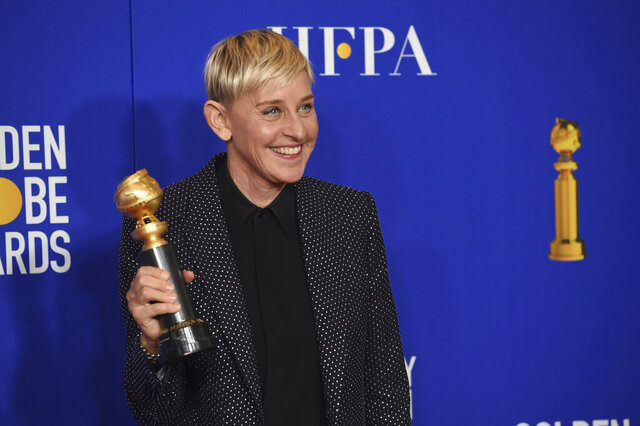 Ellen DeGeneres, winner of the Carol Burnett award, poses in the press room at the 77th annual Golden Globe Awards at the Beverly Hilton Hotel on Sunday, Jan. 5, 2020, in Beverly Hills, Calif. (AP Photo/Chris Pizzello)
