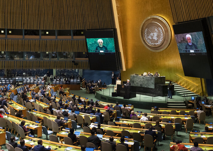 Iran's President Hassan Rouhani addresses the 74th session of the United Nations General Assembly, Wednesday, Sept. 25, 2019. (AP Photo/Craig Ruttle)