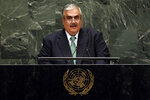 Bahrain's Foreign Minister Khalid bin Ahmed Al-Khalifa addresses the 74th session of the United Nations General Assembly, Saturday, Sept. 28, 2019. (AP Photo/Richard Drew)