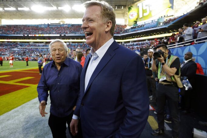 New England Patriots owner Robert Kraft, left, shares a laugh with NFL Commissioner Roger Goodell before the NFL Super Bowl 54 football game between the San Francisco 49ers and Kansas City Chiefs Sunday, Feb. 2, 2020, in Miami Gardens, Fla. (AP Photo/John Bazemore)