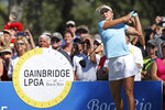 Lexi Thompson drives from the first tee during the final round of the Gainbridge LPGA golf tournament at Boca Rio, Sunday, Jan. 26, 2020, in Boca Raton, Fla. (John McCall/South Florida Sun-Sentinel via AP)