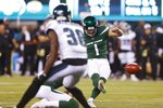 New York Jets' Taylor Bertolet (1) kicks a field goal during the first half of a preseason NFL football game against the Philadelphia Eagles, Thursday, Aug. 29, 2019, in East Rutherford, N.J. (AP Photo/Jim McIsaac)