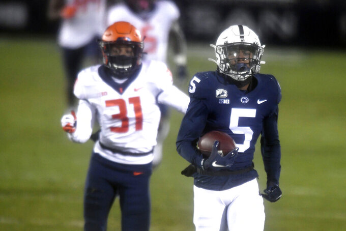 Penn State wide receiver Jahan Dotson (5) scores a touchdown on a 75-yard pass in the first quarter of an NCAA college football game in State College, Pa., on Saturday, Dec. 19, 2020. (AP Photo/Barry Reeger)