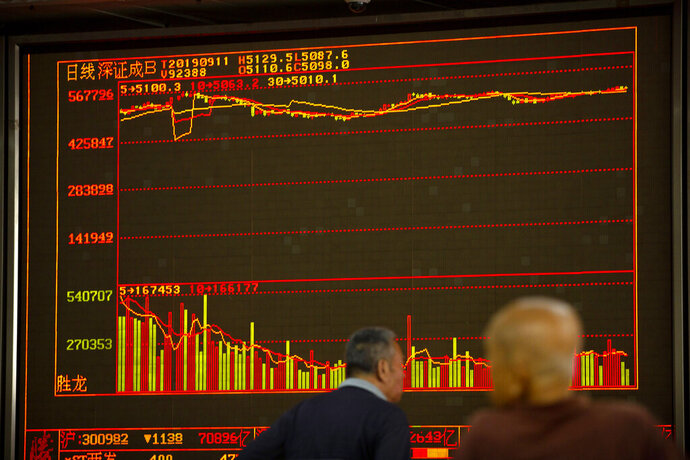 Chinese investors monitor stock prices at a brokerage house in Beijing, Wednesday, Sept. 11, 2019. Asian shares were mostly higher Wednesday, cheered by a rise on Wall Street amid some signs of easing tensions between the U.S. and China on trade issues. (AP Photo/Mark Schiefelbein)