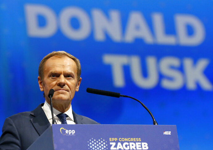 President of the European Council Donald Tusk speaks during the European Peoples Party (EPP) congress in Zagreb, Croatia, Wednesday, Nov. 20, 2019. Tusk was in Zagreb, the Croatian capital, for a meeting of the European People's Party, the main center-right bloc in the European Parliament.(AP Photo/Darko Vojinovic)
