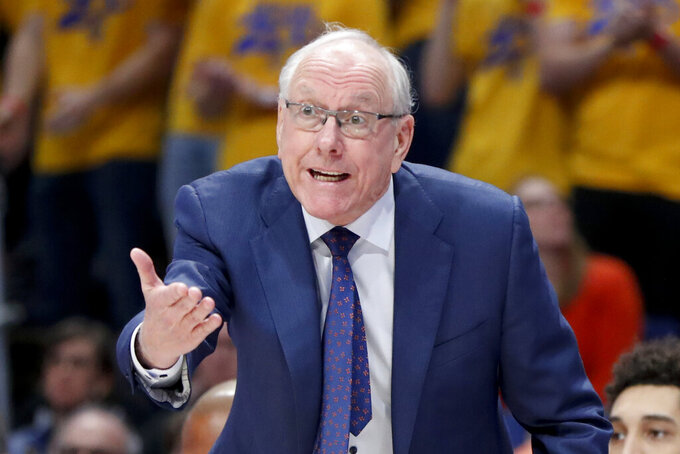 Syracuse head coach Jim Boeheim instructs his team as they play against Pittsburgh during the first half of an NCAA college basketball game, Wednesday, Feb. 26, 2020, in Pittsburgh. Syracuse won 72-49.(AP Photo/Keith Srakocic)