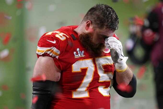 Kansas City Chiefs offensive tackle Mike Remmers reacts after losing to the Tampa Bay Buccaneers in the NFL Super Bowl 55 football game Sunday, Feb. 7, 2021, in Tampa, Fla. The Buccaneers defeated the Chiefs 31-9 to win the Super Bowl. (AP Photo/David J. Phillip)